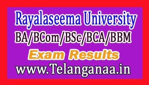 Rayalaseema University RU UG (BA/BCom/BSc/BCA/BBM) 1st Sem Results Nov-2016