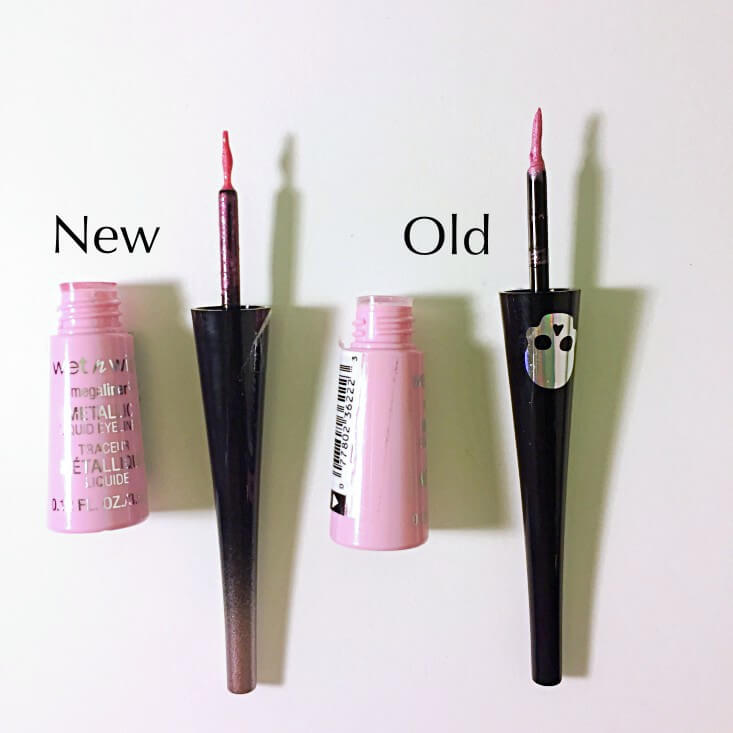 wet n wild megaliner Metallic Liquid Eyeliner Too Cute to Spook vs Pink Coffin