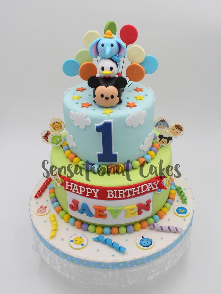 Tsum With Balloon Baby Boy Birthday Cake Singapore TsumTsumCake