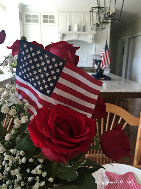 Flags for 4th of July with a Patriotic Table Setting