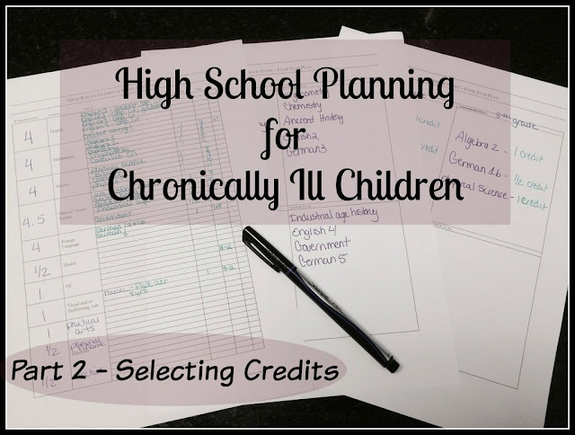 Unexpected Homeschool: High School Planning for Chronically Ill Children - Selecting Credits / Courses