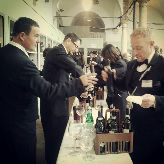 Sommeliers preparing Brunello 2009 for tasting