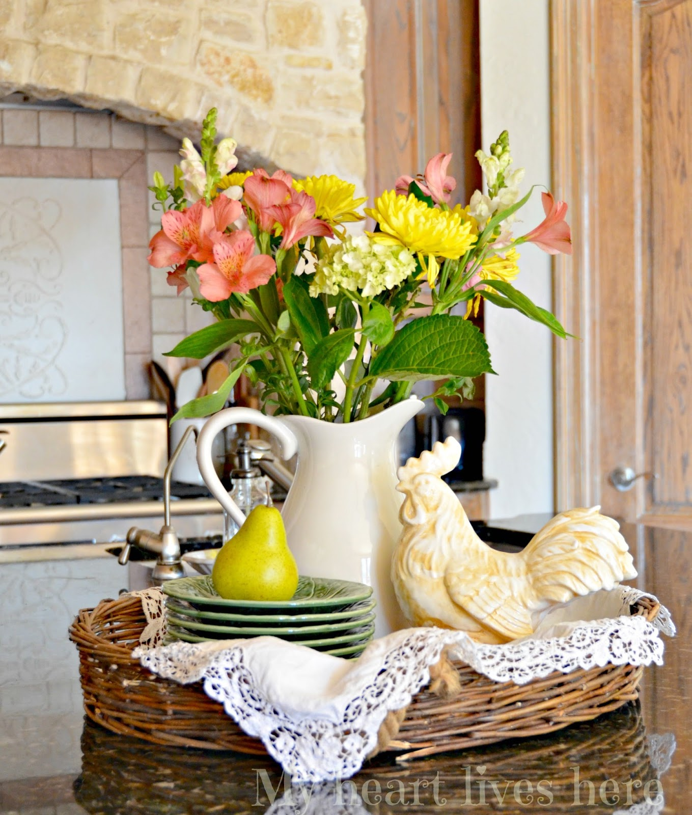 Kitchen Island Floral Arrangements