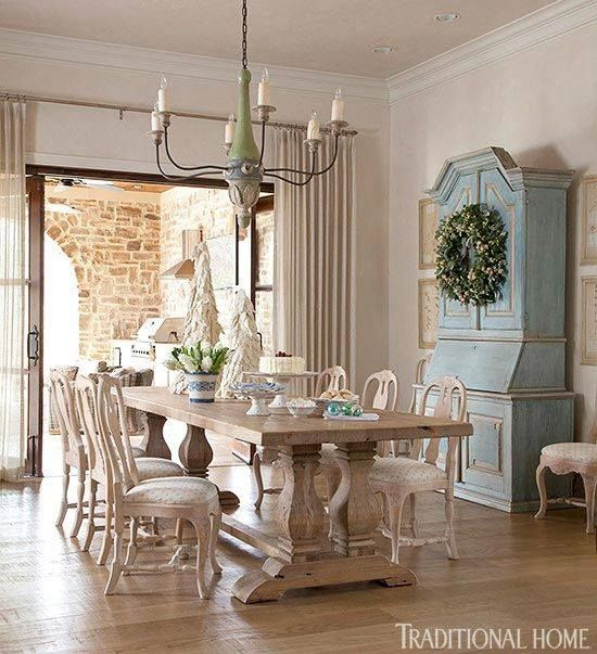 neutral rooms dining room stunning french country style farmhouse table blue armoire