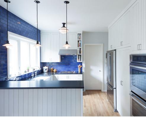 cozinha com azulejo azul