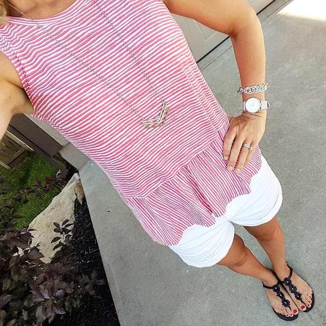 Old Navy Relaxed Peplum Top // Old Navy Pixie Chino Shorts // Steve Madden Sandals (similar) // BP Chevron Necklace (already sold out! - similar for only $4) // BP Round Face Watch - only $12 (reg $20)