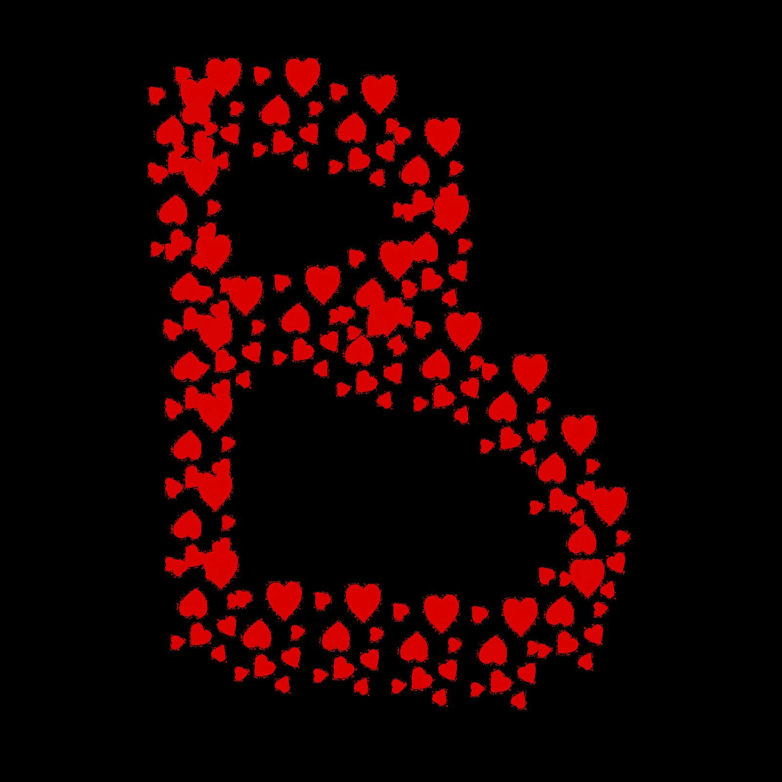 حرف B على شكل قلب
