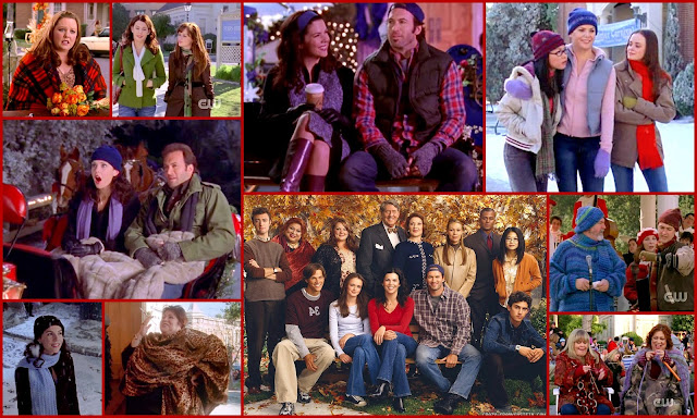 Gilmore Girls collage. Lauren Graham, Alexis Bledel playing Lorelai and Rory Gilmore along with the rest of the cast including Scott Patterson as Luke Danes and Melissa Mccarthy as Sookie St James. Autum tv show.