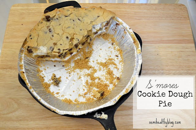 s'mores cookie dough pie in a skillet