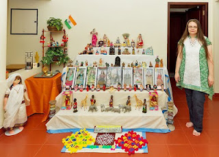 Jennifer Kumar with a Navarathri Golu