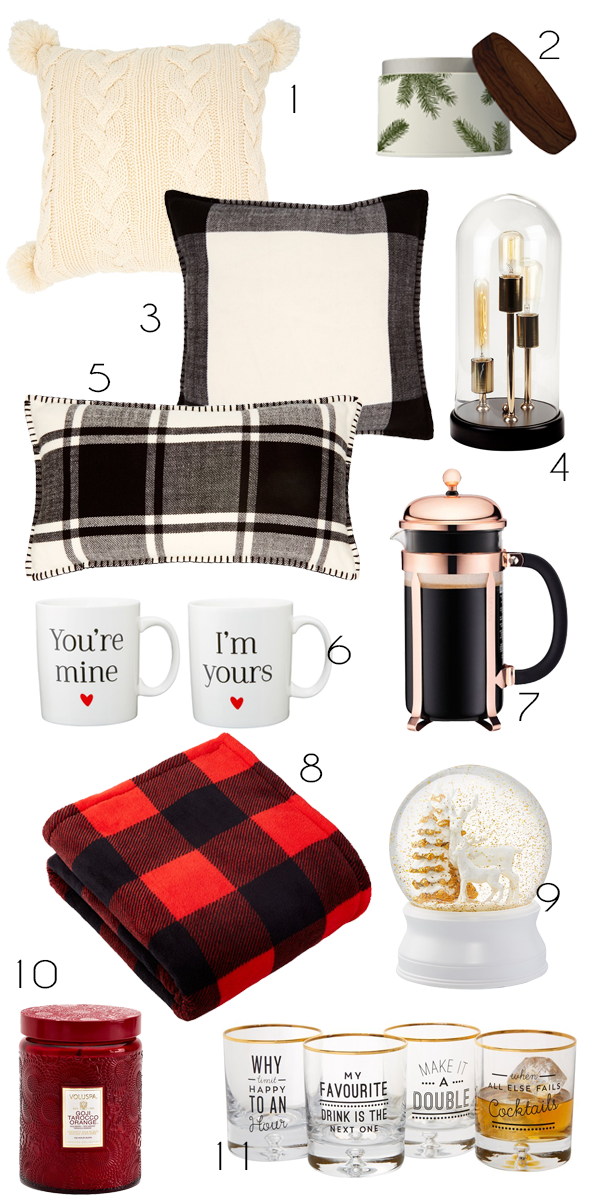 All the essentials you need for a cozy, cabin-chic night in featuring picks from Chapters Indigo, including pillows and throws, scented candles, and other home decor goodies.