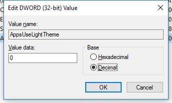 AppsUseLightTheme value
