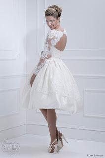 vestido de noiva curto com manga comprida de renda