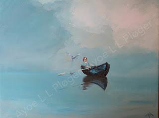 maleri,kunst,art,colors,farve,moderne,havterne,pige,hav,natur,lærred,olie,acryl,