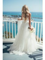 Beach Lace Bodice Tulle Long Wedding Dress with Ribbon