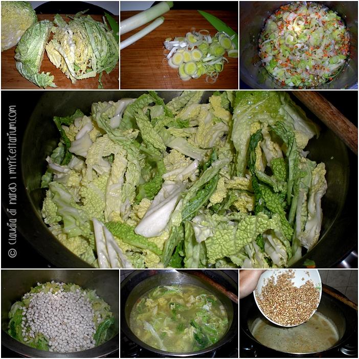 Zuppa di verza con porro e grano saraceno