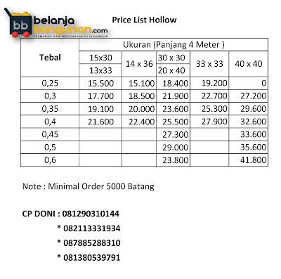 Daftar Harga Price List Hollow 2016 - Hollow Murah