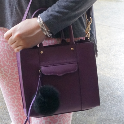 Rebecca Minkoff mini MAB tote in plum with pink leopard print jeans | Away From The Blue