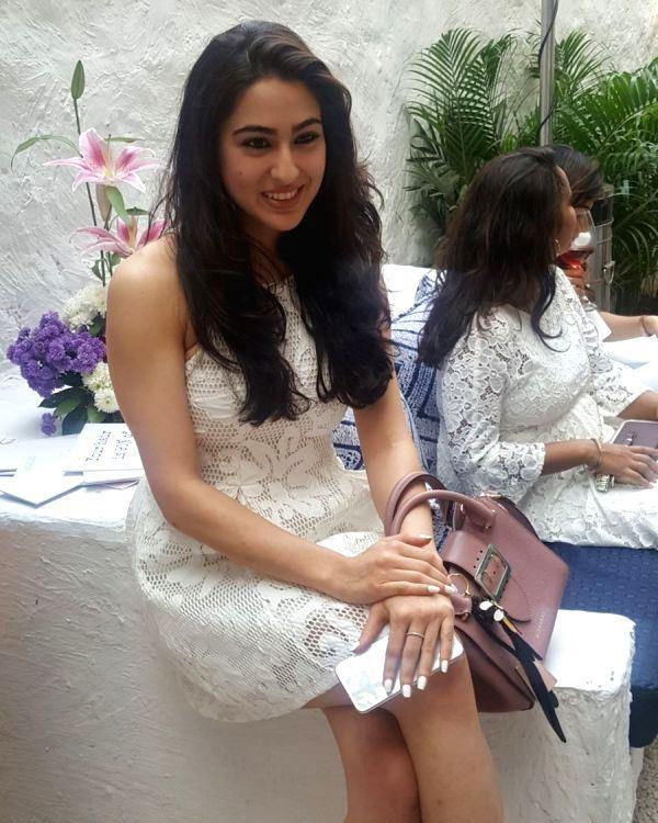 Hindi Actress Sara Ali Khan Hot Photos In White Top
