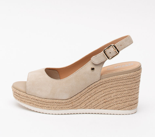 Sandale tip espadrile din piele intoarsa, cu talpa wedge