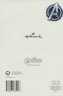 Back of Avengers 2012 birthday card from Hallmark