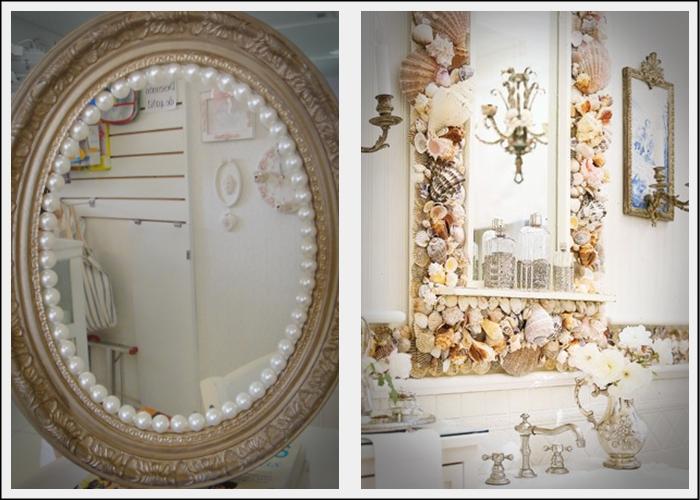 Decoração de espelhos com pérolas e conchas