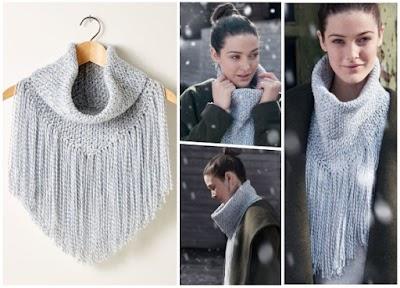 Cuellos altos con flecos tejidos a crochet con tutoriales