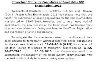 SSC Constable GD Examination 2018 Registration Postponed - Check notice