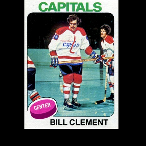 The photo is Bill Clement, while still a Flyer, playing the Capitals, after being traded, painted for his hockey card to look like a Cap playing the Flyers. Got that? (Book Pg. 105)