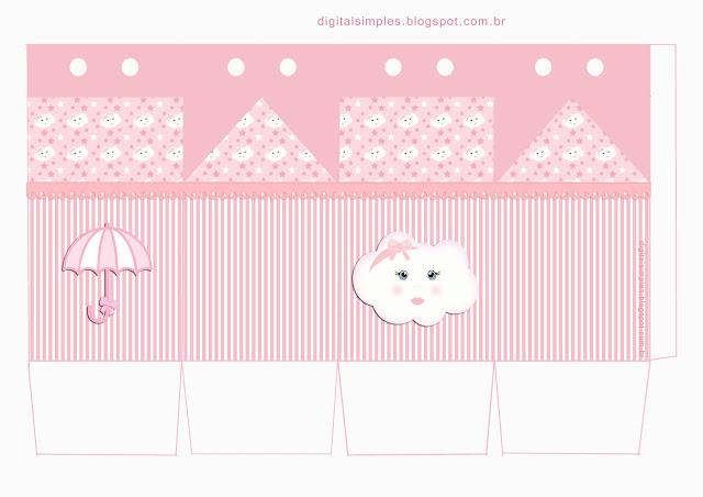 Lluvia de Bendiciones con Estrellas en Rosa: Cajas para Imprimir Gratis.