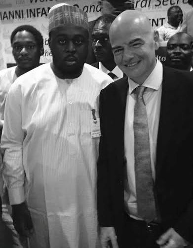 Photo: Bukola Saraki's son Seni with FIFA President Gianni Infantino in Abuja