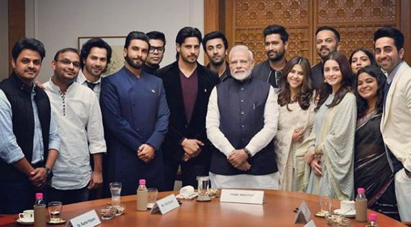 Narendra Modi with  Ranveer Singh, Karan Johar, Varun Dhawan, Ekta Kapoor, Rohit Shetty, Alia Bhatt, Ayushman Khurana, Ashwiny Iyer Tiwari, Siddharth Malhotra, Rajkumar Rao, Bhumi Pednekar