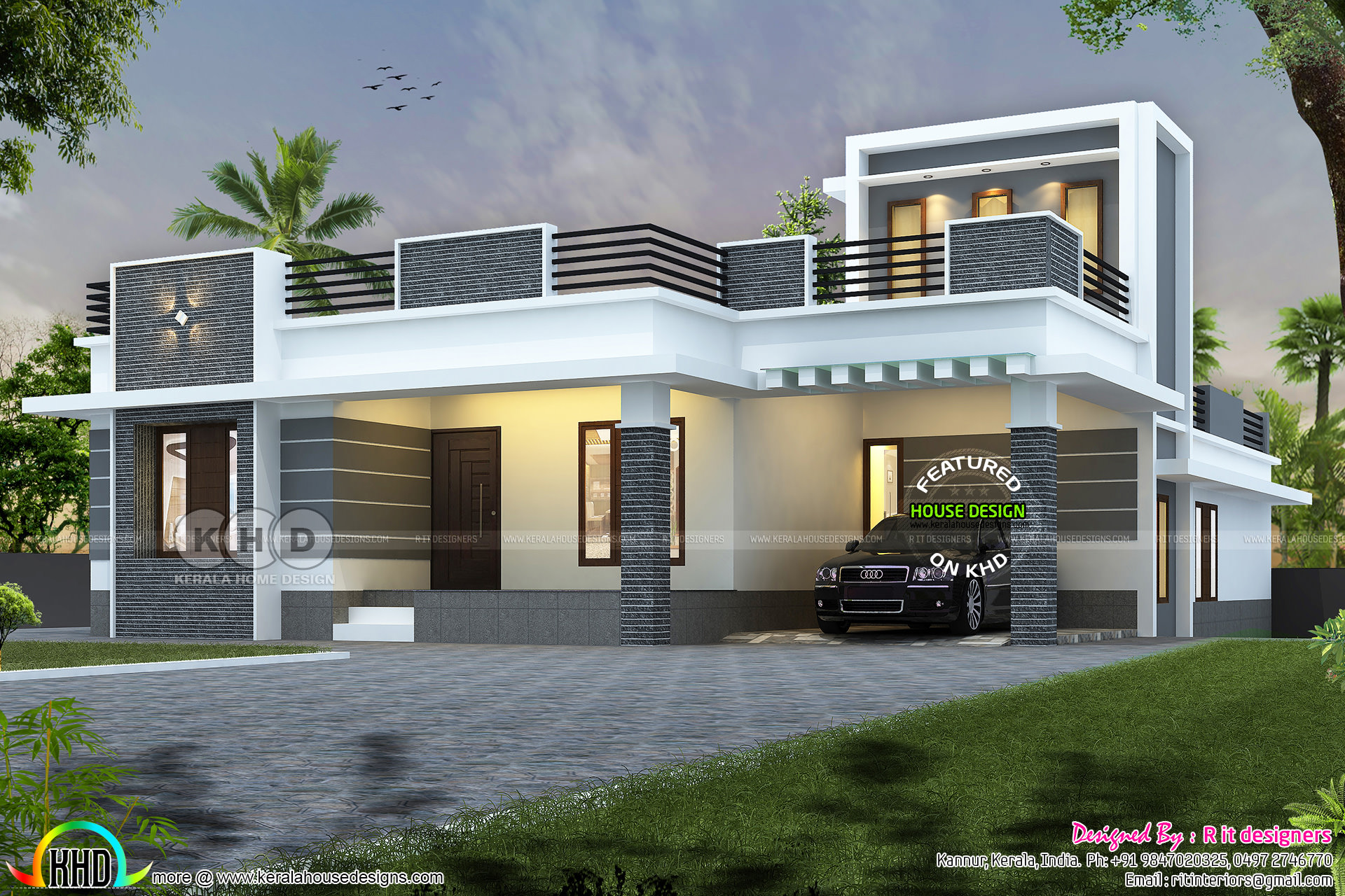 $45,000 cost estimated flat roof home plan | Kerala home design