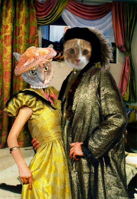 Gray Cat lady and Orange cat man in victorian clothing