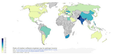 世界 プログラマー 賃金 給料 年収 比較 地図 マップ