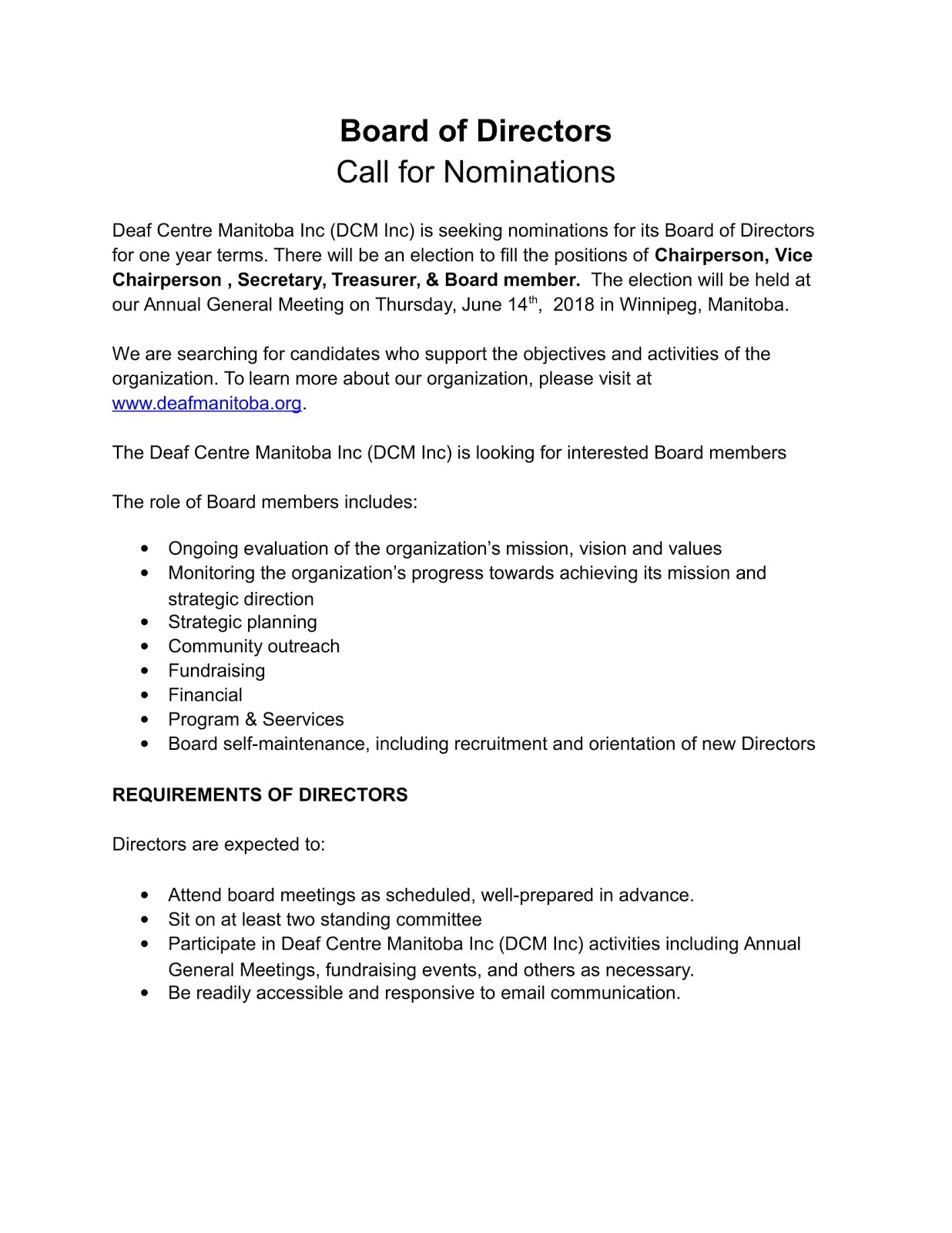Deaf Centre Manitoba Inc : Call for Nominations for DCM Inc Board of