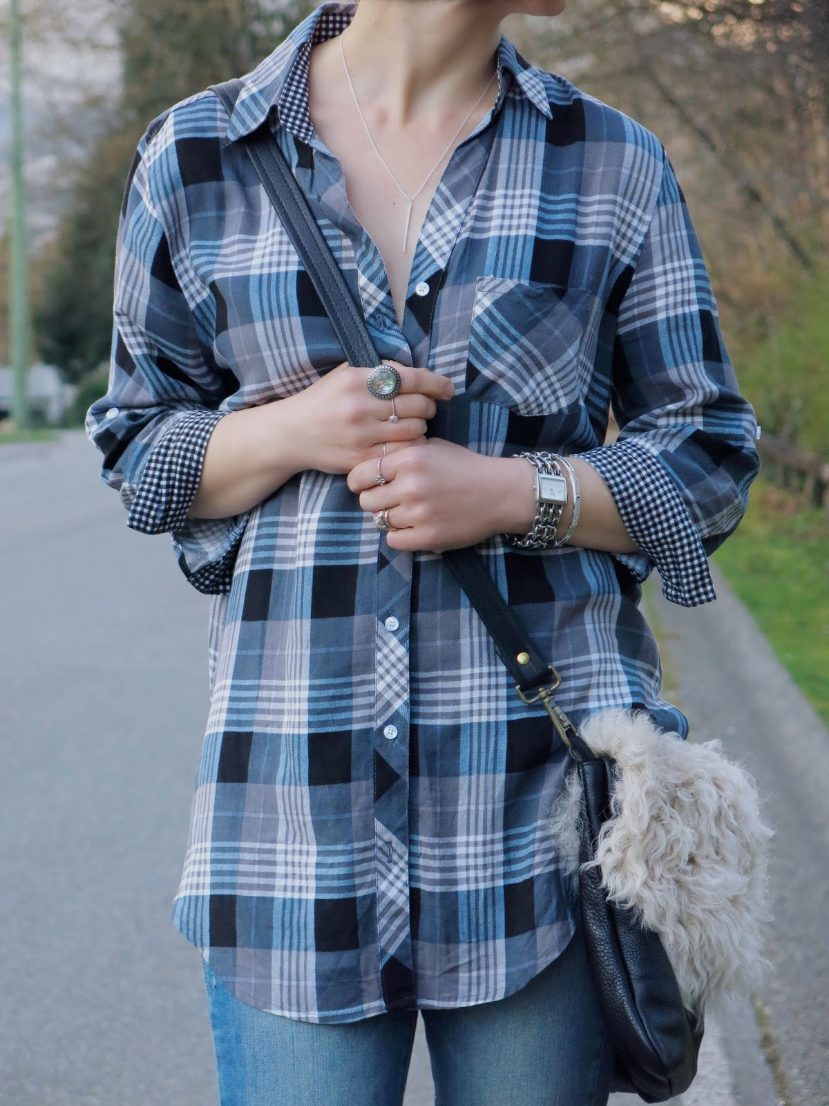 plaid shirt and statement accessories