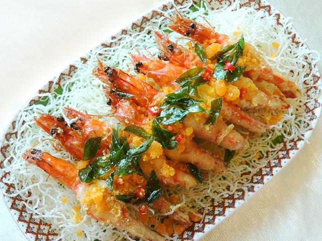 Deep Fried Soft Shell Prawns With Salted Eggs - Udang Goreng Telur Masin