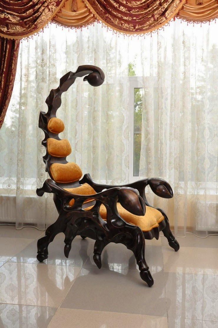 Wood Hand Chair Director Covers Weirdwood Crafted Wooden Chairs Shaped Like Giant Scorpions That Is A Scorpion The Measures In At Six And Half Feet Available With Leather Upholstery
