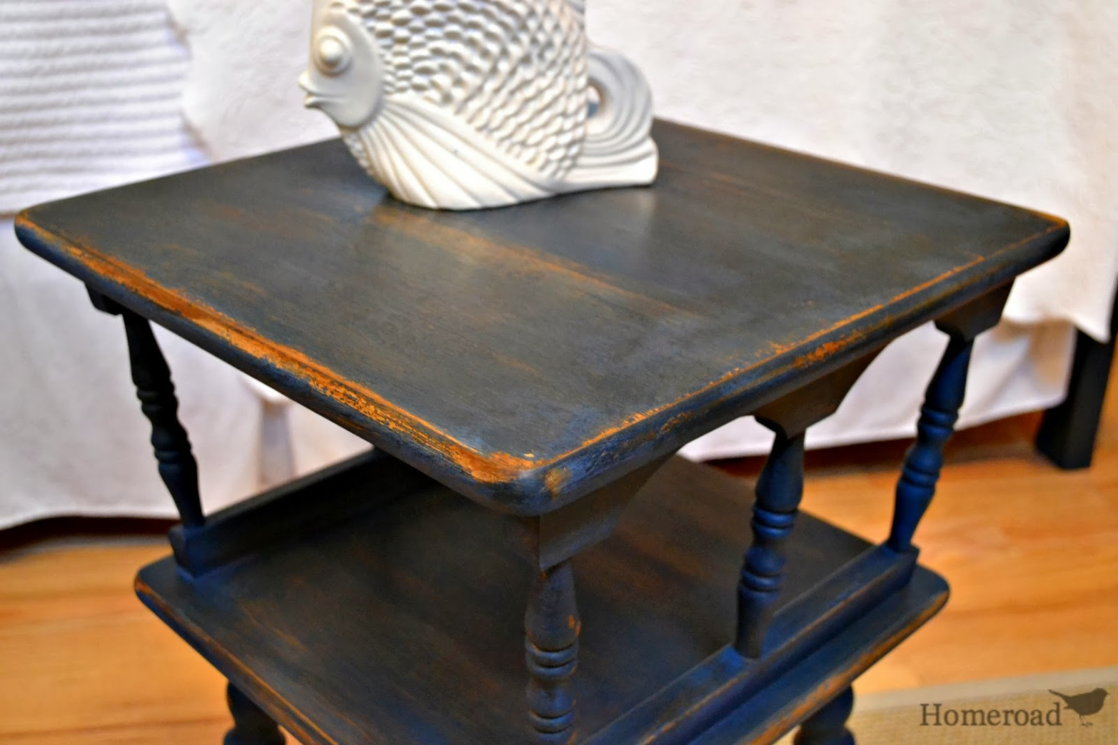 Navy Blue Bedside Table: Navy Blue Maple Side Table