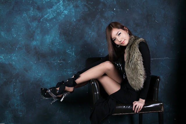 5 Lee Ji Min in Black Maxi-very cute asian girl-girlcute4u.blogspot.com