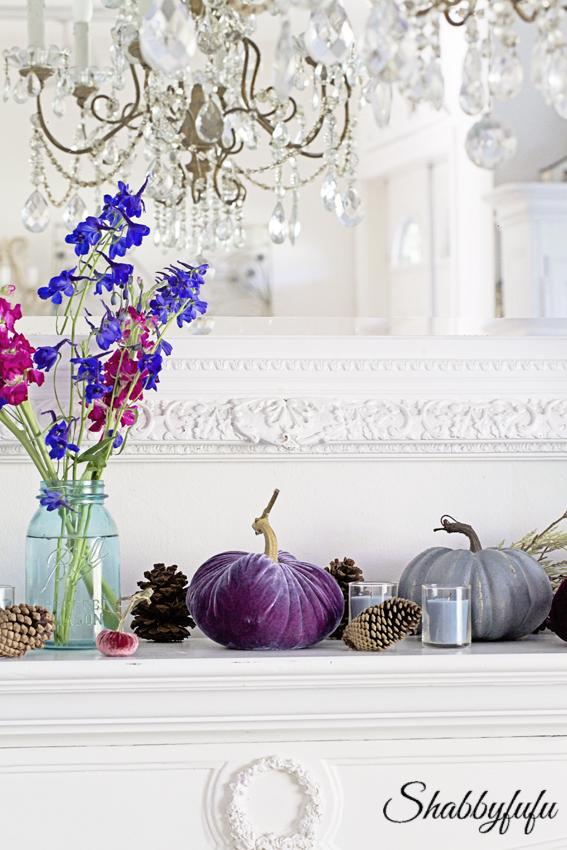 elegant fall mantel purple velvet pumpkins