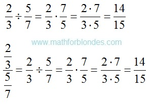 How to divide fraction into fraction. Mathematics For Blondes.