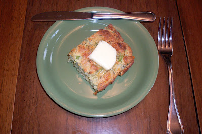 Delicious Cornbread with added Broccoli and Cheddar Cheese.
