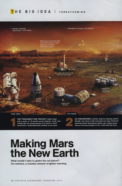Terraforming Mars - stages 1-2 (National Geographic, feb. 2010, pg.30)