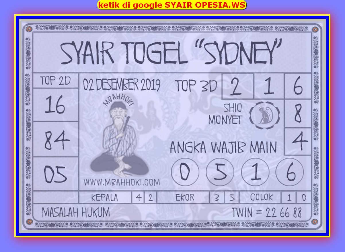 Kode syair Sydney Senin 2 Desember 2019 122