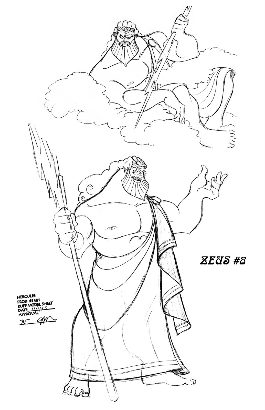 Zeus Line Drawing : Living lines library hercules model sheets