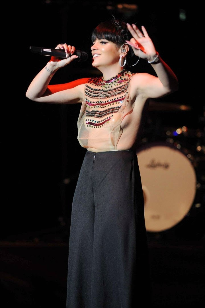 Lily Allen Performs in sheer top at charity gig (London)