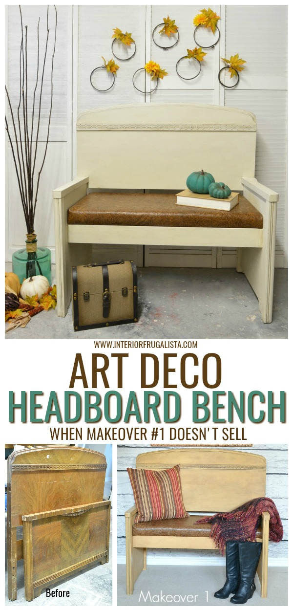 Art Deco Headboard Bench With Leather Seat