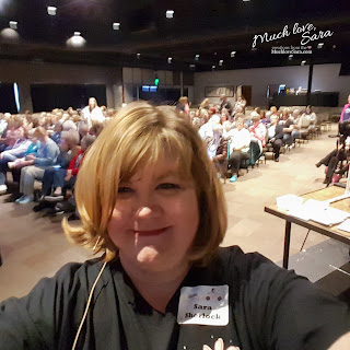 Standing in front of the crowd, before presenting, at the Saturday session of Inking Idaho on the Road